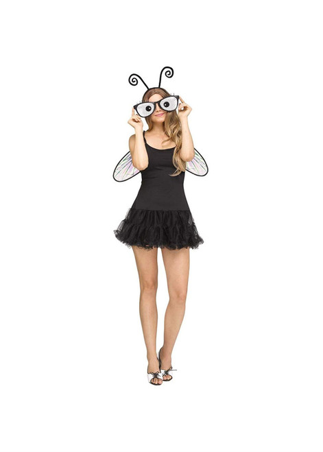 Womens Buggin' Out Instant Costume Kit Headband Wings Glasses Accessory Set