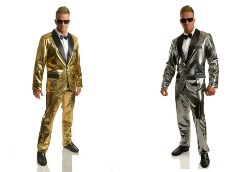 Mens Silver or Gold Disco Ball Tuxedo Costume