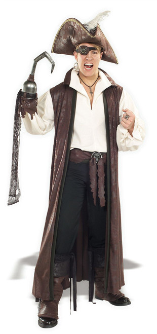 Distressed Suede Long Pirate Coat Adult Costume Standard