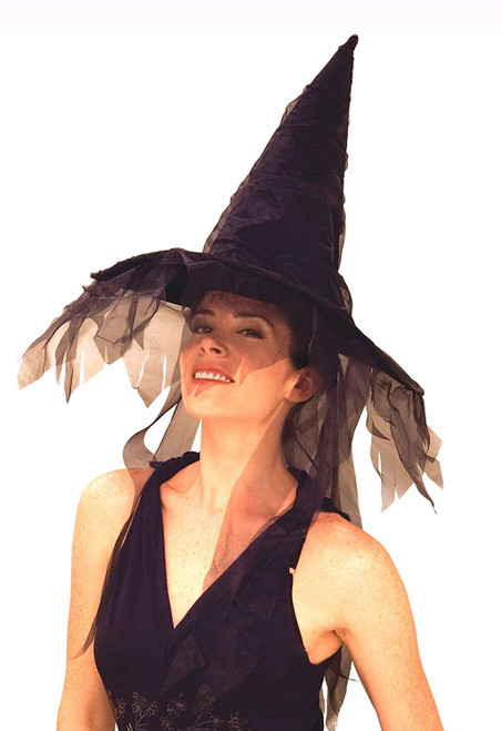 Ghostly Witch Black Hat One Size