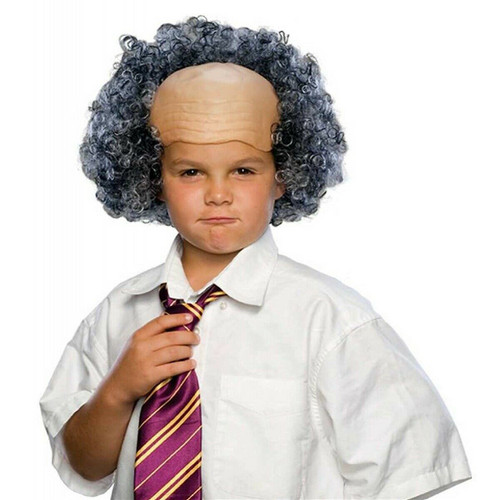 Child Bald Old Man Wig with Curly Sides