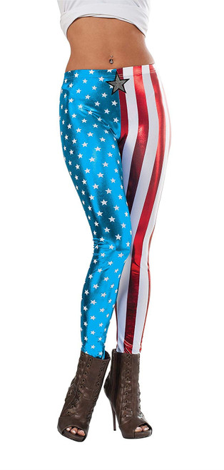 Captain America Adult Womens Superhero Leggings Costume Accessory