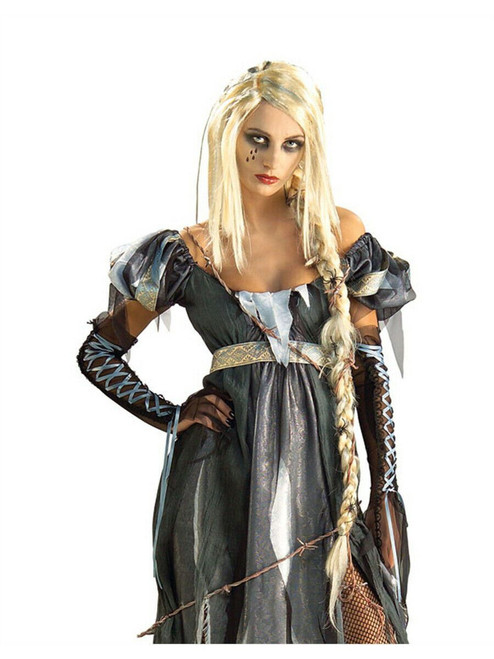 Adult Womens Costume Blonde Gothic R.I.P.unzel Wig With Ponytail