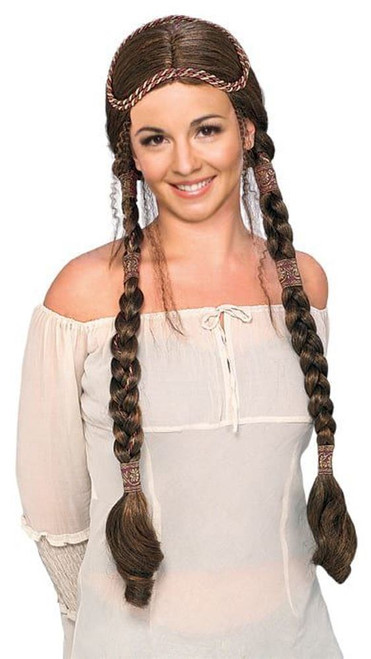 Brown Renaissance Lady Braided Wig Medieval Maiden Costume Accessory