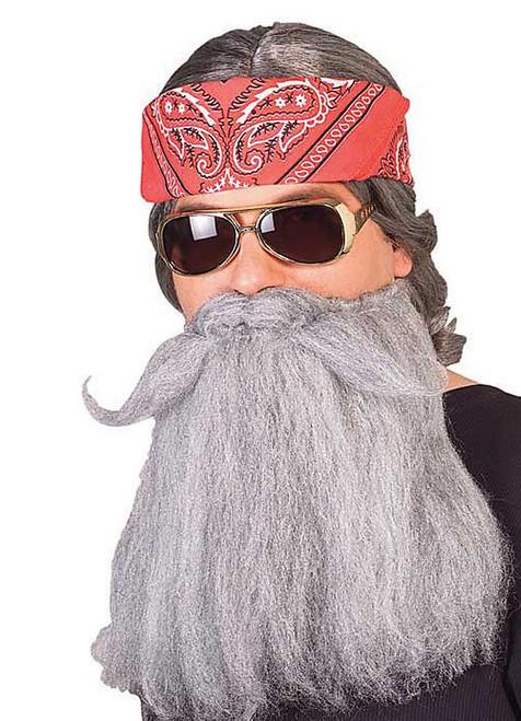 """Adult Hillbilly Biker Beard and 14"""" Mustache Set Standard"""