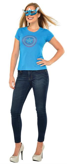 Rubie's Costume Co Women's Marvel Universe Captain America Dream Rhinestone T-Shirt