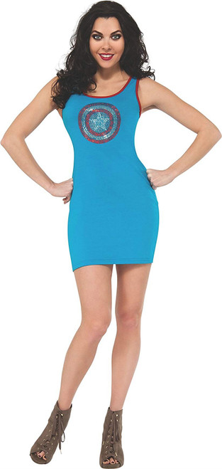 Rubie's Costume Women's Marvel Universe Captain America Rhinestone Tank Dress