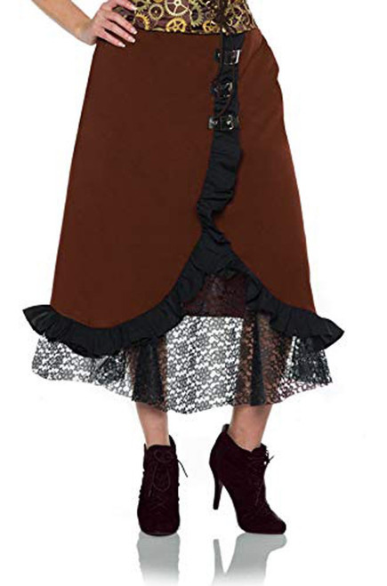 Underwraps Women's Steampunk Costume Lace Skirt-Brown