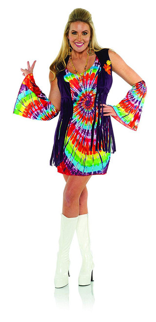Underwraps Women's 1960s Retro Tie Dye Costume Dress Set Revolution