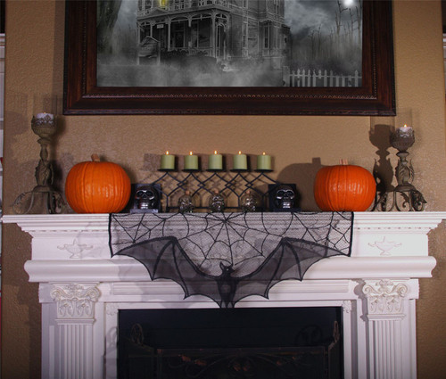 Bat Lace Curtain Topper / Mantle Topper Halloween Decoration
