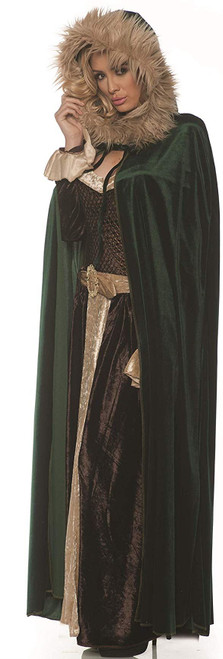 Green Renaissance Womens Adult Costume Cape With Hood