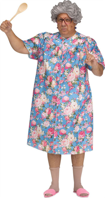 Mens Overbearing Mother Costume Old Lady Funny Floral Dress Wig Halloween Outfit