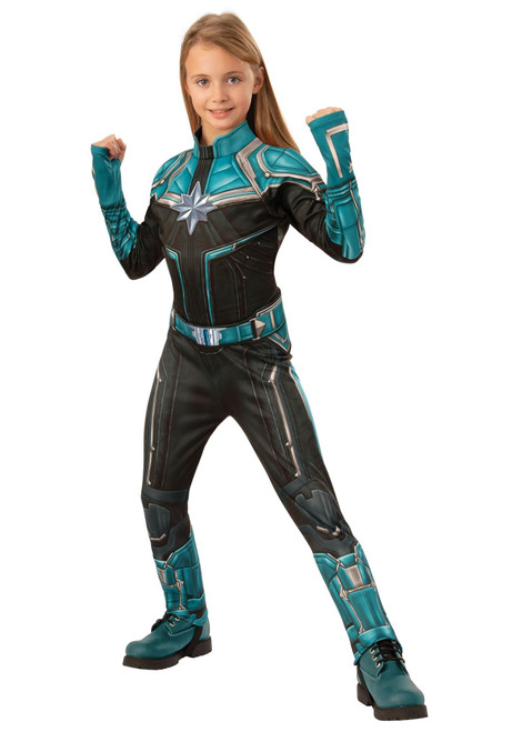 Girls Captain Marvel Deluxe Kree Movie Costume