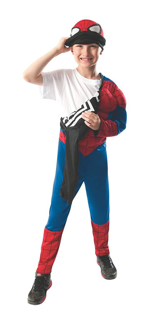 2-1 Ultimate Muscle Reversible Spiderman Costume for Kids