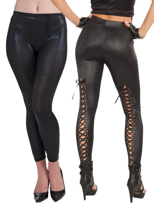 Sexy Bad Biker Lace Up Leggings Halloween Costume Accessories Adult Women Black
