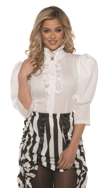 Underwraps Women's White Steampunk Victorian Blouse
