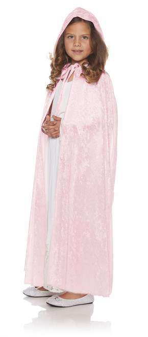 Girls Light PinkFull Length Panne Cape