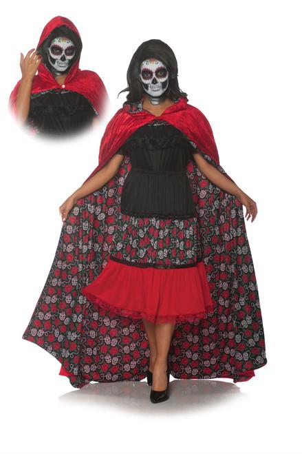 Underwraps Women's Reversible Sugar Skull Hooded Cape-Red, Multi, One Size
