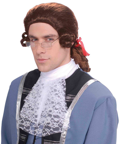 Colonial Mens Adult Judge Soldier Renaissance Halloween Costume Wig
