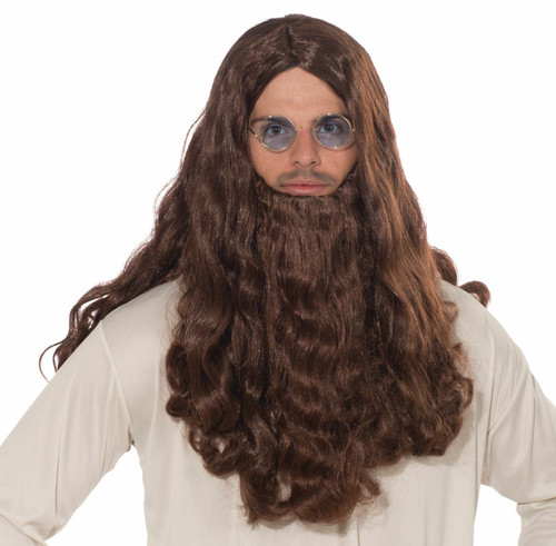 Hippie Love Guru Wig & Beard Set Biblical Jesus Brown Adult Costume Accessory
