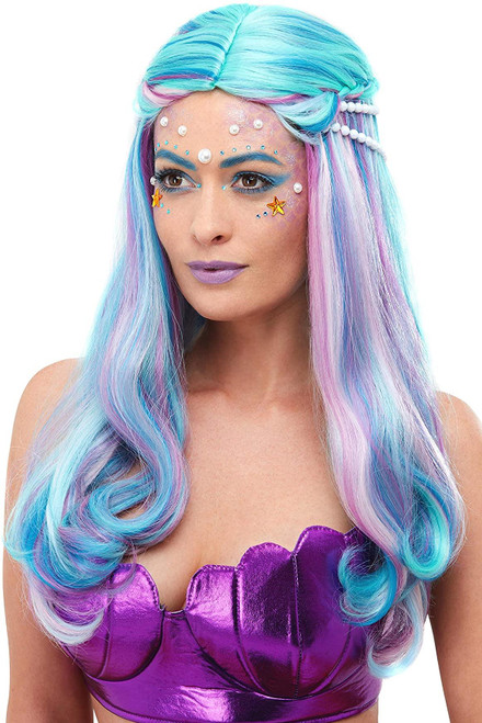 Blue and Pink Mermaid Rainbow Glam with Pearls Women Adult Halloween Wig Costume Accessory