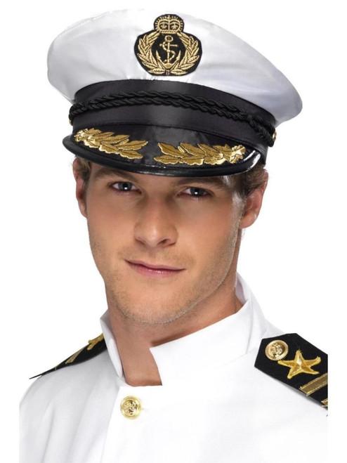 Smiffys Adult Navy Marine Military Costume White Captain Hat