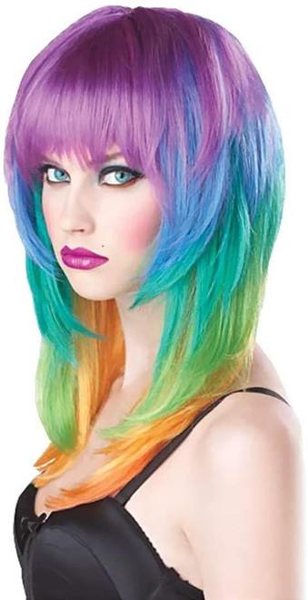 Kaleidoscope Rainbow Wig Adult Halloween Accessory