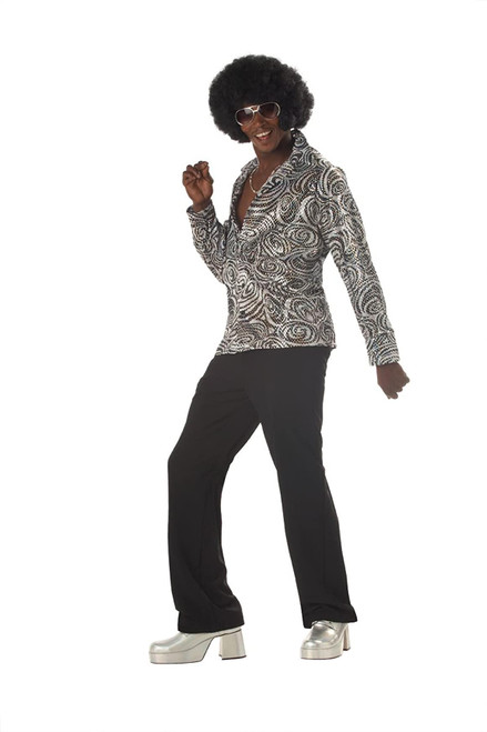 Groovy Disco Shirt  & Afro Wig