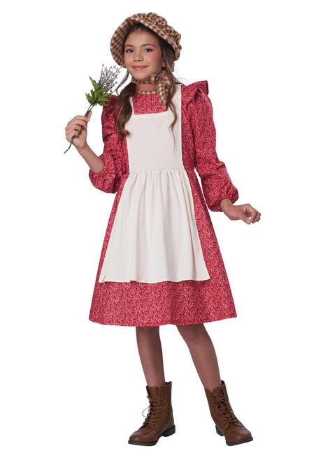 Red Frontier Settler Costume for Girls