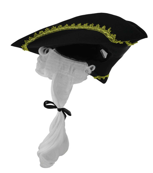 Tricorn colonial revolutionary hat white wig adult black gold accessory
