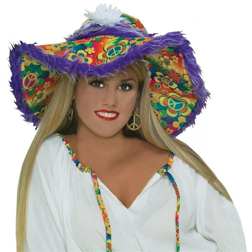 Womens Hippie Hat Floppy Hat Peace Costume Accessory Adult Halloween