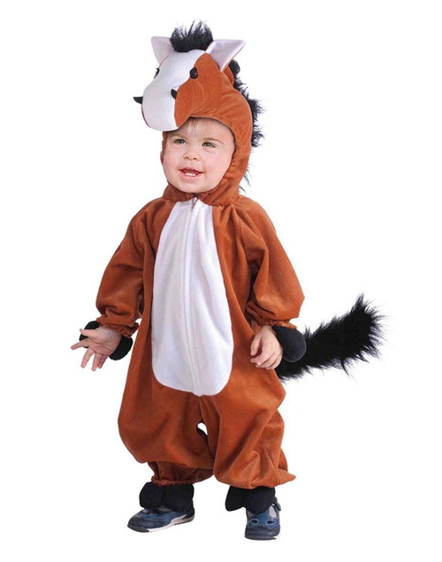 Plush Horse Farm Animal Brown Western Fancy Dress Up Halloween Child Costume Medium