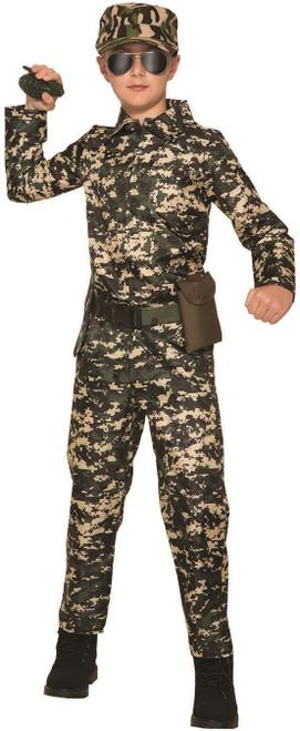child kids army military combat soldier jumpsuit camo uniform halloween costume Medium