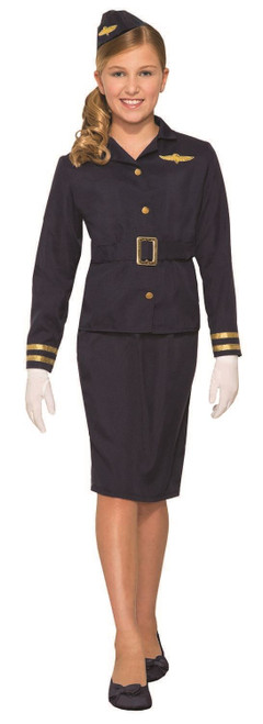 Stewardess Airline Flight Attendant Girl Fancy Dress Up Halloween Child Costume