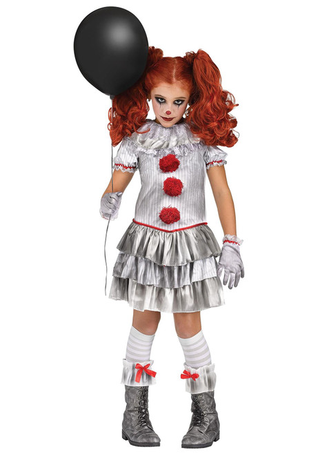 Girls Carnevil Clown Spooky Halloween Costume