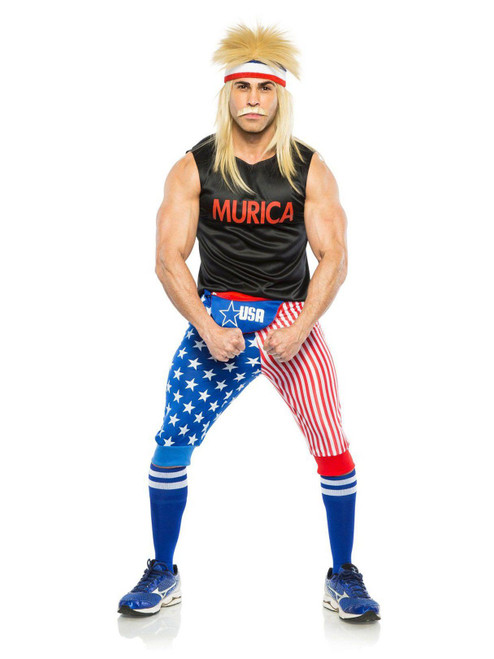 Seeing Red Murica USA Costume Wrestler Patriot Mens Hallowen Costume