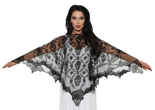 Vampire Lace Poncho Black Gothic Skull Halloween Costume Serape - One Size