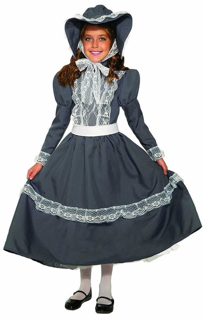 Prairie Girl Child Costume Grey Dress & Bonnet Little House On The Prairie