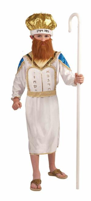 Jewish Religious Moshe Child Costume Boys Purim Holiday Hat Robe Neckpiece Kids