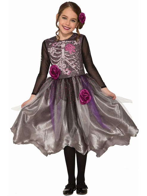 Girls Sweet Skeleton Bones Dress Flowers Child Sized Halloween Costume