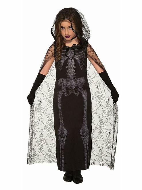 Girls Graveyard Spirit Zombie Skeleton Dress Cape Child Halloween Costume