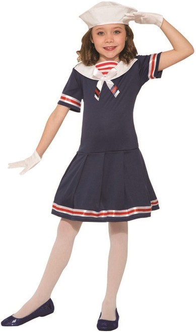 Girls Classic 1920'S Sailor Dress Hat Uniform Navy Uso Fancy Halloween Costume
