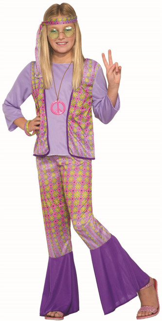 Generation Hippie Love Child Girls Halloween Costume 70's Flower Power