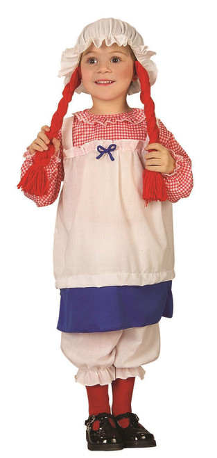 Child Girls Raggedy Ann Rag Doll Dress Pantaloons Halloween Costume