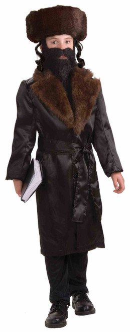Forum Novelties Jewish Rabbi Child Costume Black Jacket Faux Fur