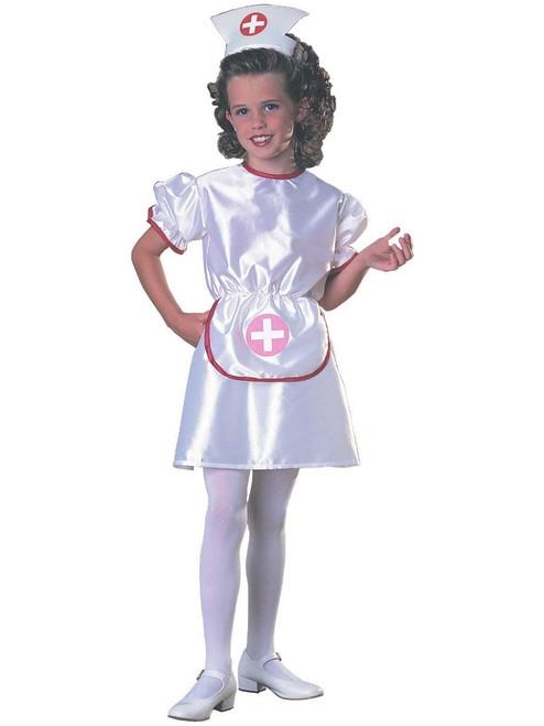 Child Nurse Halloween Costume Girls Dress & Headpiece
