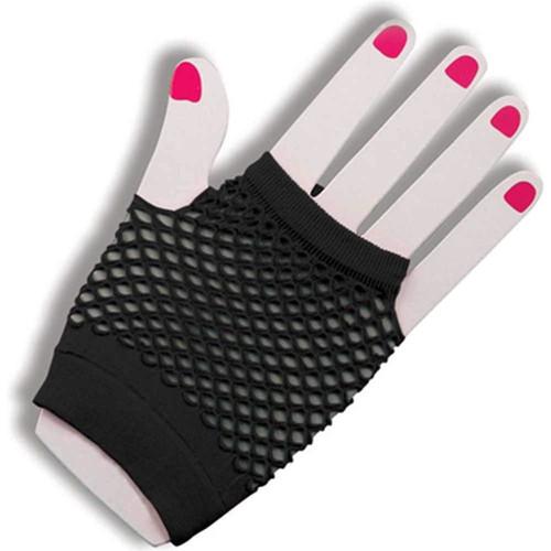 80's Fishnet Fingerless Short Gloves - Pink or Black