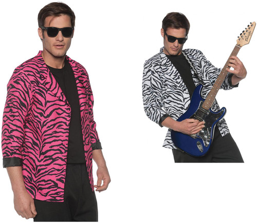 Men's 80's Wave Costume Zebra Blazer Jacket