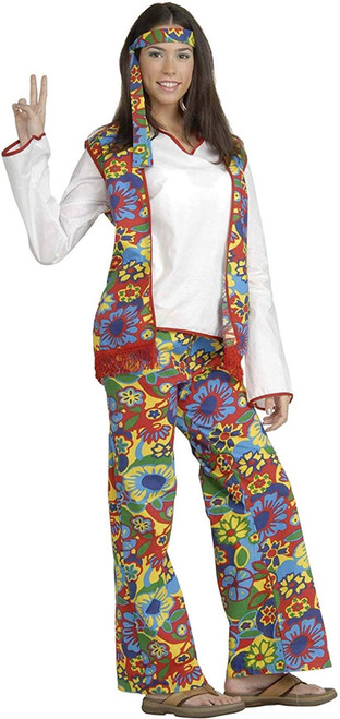 Hippie Dippie Woman Disco 60s 70s Go Go womens halloween costume One Size Up to 14/16