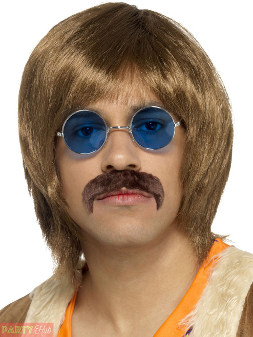 60s Hippie Kit Brown with Wig Tash & Hippie Specs